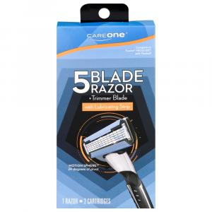 CareOne Men's 5-Blade Razor +Trimmer Blade and 2 Cartridges