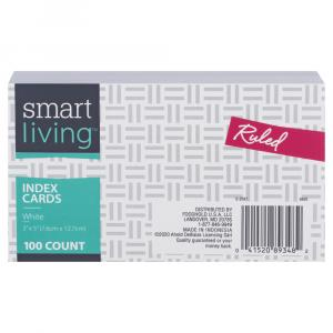 Smart Living Index Cards 3 X 5 White Ruled