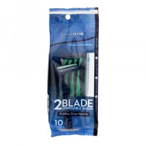 CareOne Men's Disposable Rubber Grip Handle Two Blade Razor