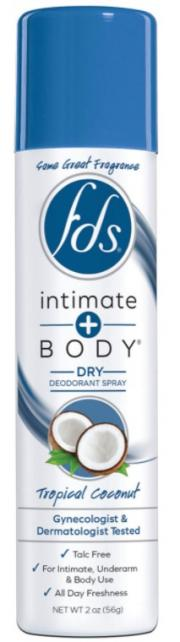 FDS Intimate + Body Tropical Coconut Dry Deodorant Spray