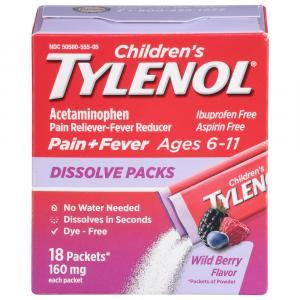 Children's Tylenol Pain+Fever Powder Pack Wild Berry Flavor