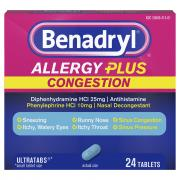 Benadryl Allergy Plus Congestion Ultra Tablets