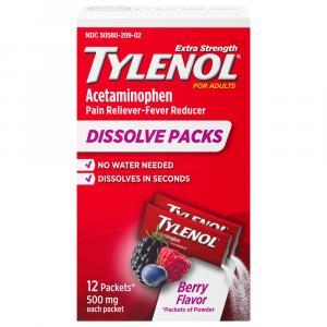 Tylenol Extra Strength Dissolve Packs Berry Flavor