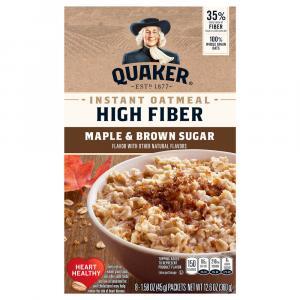 Quaker High Fiber Maple & Brown Sugar Instant Oatmeal