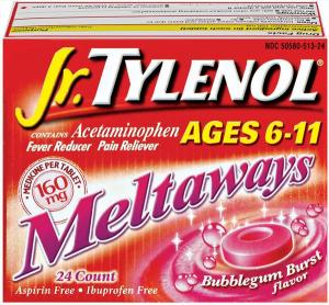 Children's Tylenol 160 Mg Bubble Gum Flavor Meltaways