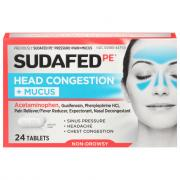 Sudafed PE Head Congestion + Mucus Tablets