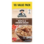 Quaker Maple and Brown Sugar Instant Oatmeal Value Pack