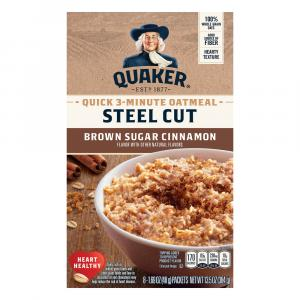 Quaker Steel Cut 3-minute Oatmeal Brown Sugar & Cinnamon