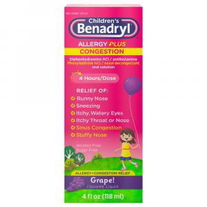 Children's Benadryl-D Allergy & Sinus Grape Flavored Liquid