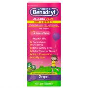 Children's Benadryl-D Allergy & Sinus Grape Flavored Liquid