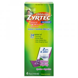 Childrens Zyrtec Sugar-Free Dye-Free Grape Syrup