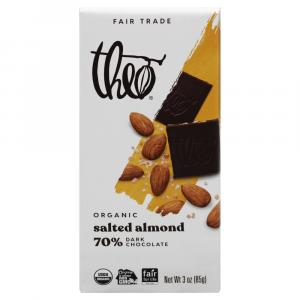 Theo Organic Salted Almond 70% Dark Chocolate Bar