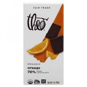 Theo Organic Fair Trade Orange 70% Dark Chocolate Bar