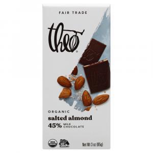 Theo Organic Fair Trade Salted Almond Milk Chocolate Bar