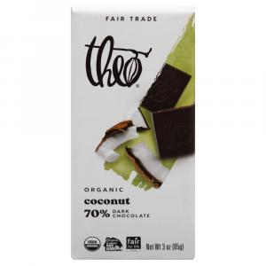 Theo Organic Toasted Coconut 70% Dark Chocolate Bar