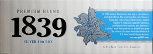 1839 Silver 100's Box Cigarettes
