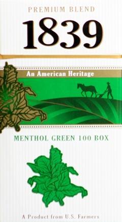 1839 Green 100's Box Cigarettes