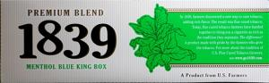 1839 Blue Green King Box Cigarettes