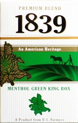 1839 Green King Box Cigarettes