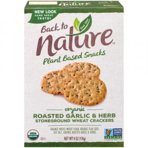Back to Nature Organic Roasted Garlic & Herb Crackers