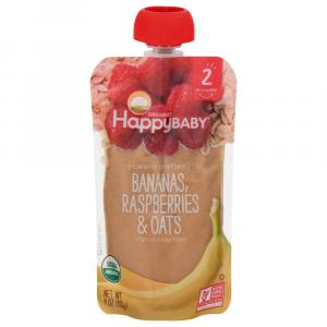 Happy Baby Stage 2 Baby Food Bananas, Raspberries & Oats