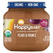 Happy Baby Stage 2 Jar Pears & Prunes Organic Baby Food