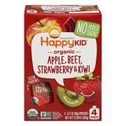 Happy Kid Organic Apple, Beet, Strawberry & Kiwi Pouches