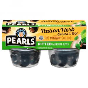 Pearls Olives To Go! Italian Herb Infused Large Ripe Olives