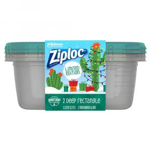 Ziploc Holiday Large Rectangle Green Containers And Lids