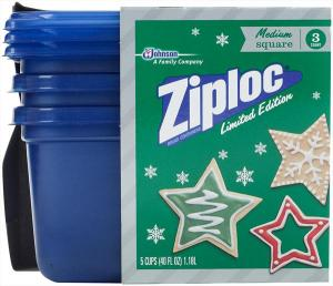 Ziploc Holiday Containers Medium Square Blue