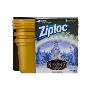 Ziploc Holiday Medium Square Gold Containers and Lids