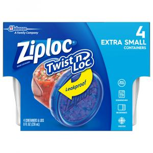 Ziploc Twist N Loc Extra Small Containers & Lids 8 Oz
