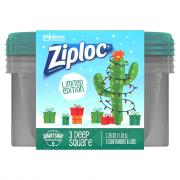 Ziploc Holiday Medium Square Green Containers and Lids