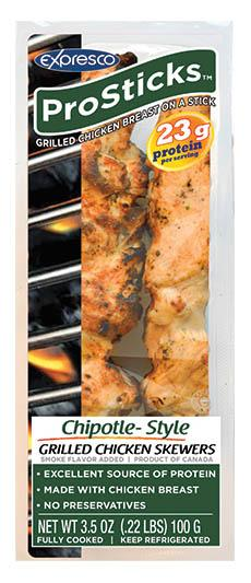 Expresco Prosticks Chipotle Style Grilled Chicken Skewers