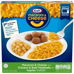 Kraft Macaroni & Cheese with Meatballs and Apples