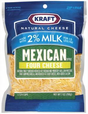 Kraft 2% Mexican 4-cheese Shreds