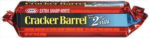 Kraft Cracker Barrel 2% Natural White Sharp Cheddar Bar