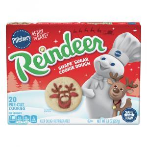 Pillsbury Reindeer Shape Sugar Cookie Dough Ready To Bake