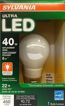Sylvania Led 40 Watt Equivalent Dimmable Light