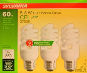 Sylvania 13 Watt Soft White Compact Fluorescent Light Bulbs
