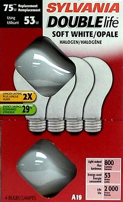 Sylvania 53 Watts Halogen Double Life Soft White