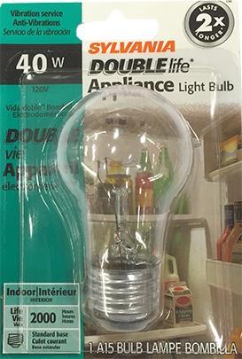 Sylvania 40 Watt Double Life Appliance Bulb