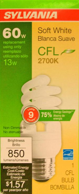 Sylvania 13 Watt Soft White Compact Fluorescent Light Bulb