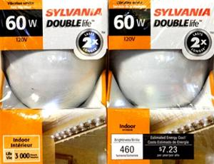 Sylvania 60 Watt Double Life Light Bulbs