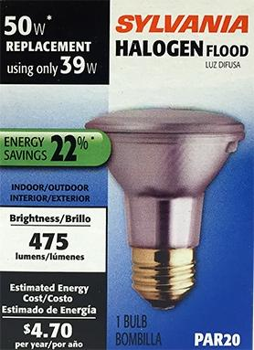 Sylvania 50-watt Halogen Flood Par20 Light