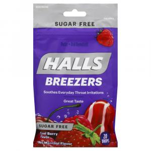 Halls Sugar Free Cool Berry Fruit Breezers Cough Drops