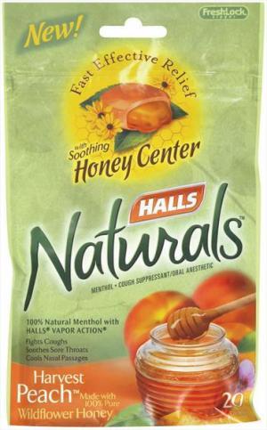 Halls Naturals W/honey Center Harvest Peach