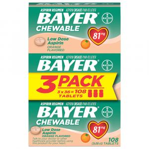 Bayer Orange Chewable Baby Aspirin Tablets