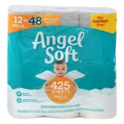 Angel Soft 12 Mega Rolls Bath Tissue
