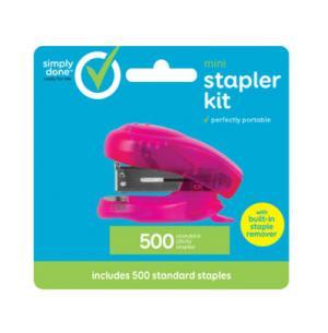 Simple Done Mini Stapler Kit With Built In Staple Remover